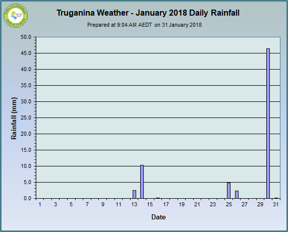 graph of January 2018 daily rainfall at Truganina Weather