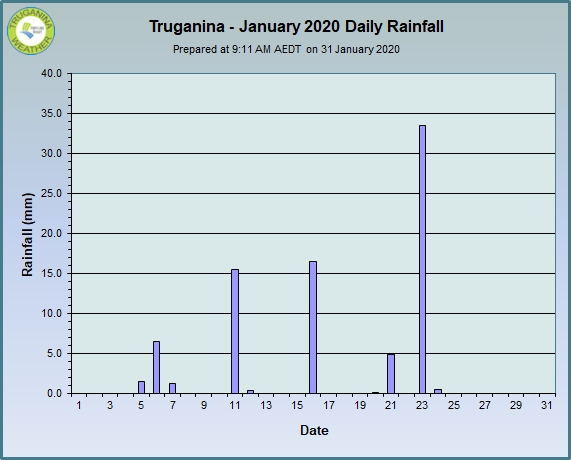 graph of January 2020 daily rainfall at Truganina Weather