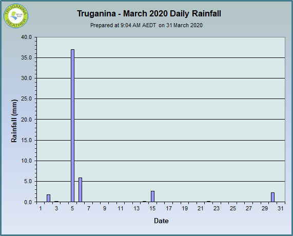 graph of March 2020 daily rainfall at Truganina Weather