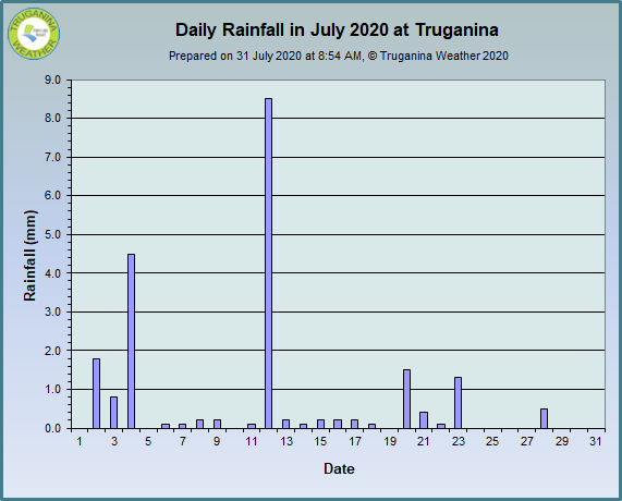 graph of July 2020 daily rainfall at Truganina Weather